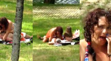 Fornicando en el parque y la hija al lado